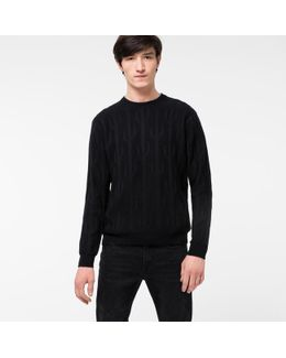 Men's Black Wool And Cotton-blend Cactus Jacquard Sweater