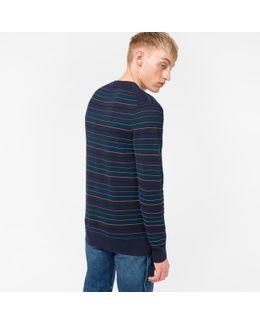 Men's Navy Textured-stripe Cotton-blend Sweater