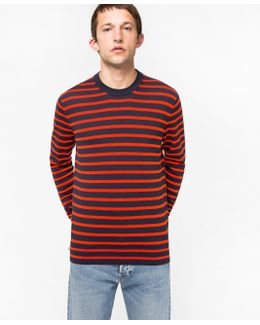 Men's Navy And Red Breton-stripe Cotton Sweater