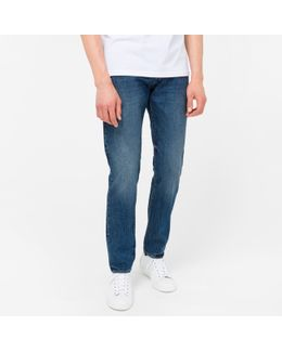 Men's Tapered-fit High-contrast Mid-wash Jeans