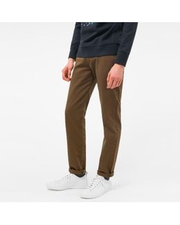 Men's Tapered-fit Khaki Garment-dyed Jeans