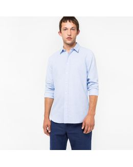 Men's Tailored-fit Sky Blue Cotton-linen Slub Shirt