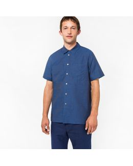 Men's Classic-fit Indigo Cotton And Linen-blend Short-sleeve Shirt