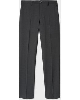 Men's Mid-fit Charcoal Grey Wool Trousers