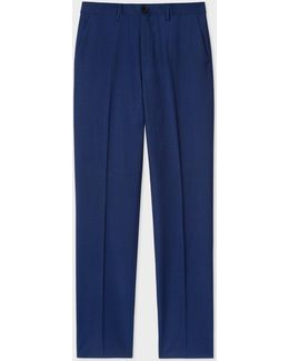 Men's Mid-fit Indigo Wool-mohair Trousers