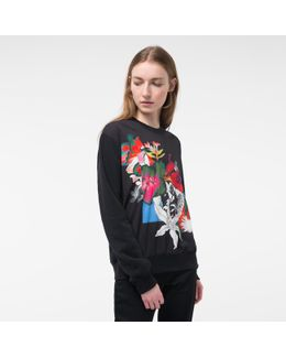 Women's Black Sweatshirt With 'photo-floral' Print
