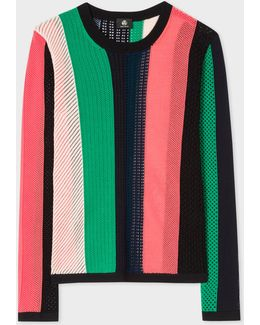 Women's Mixed-crochet Striped Cotton Sweater