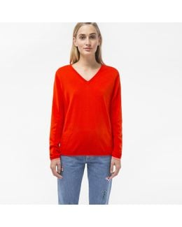 Women's Red Cotton V-neck Sweater