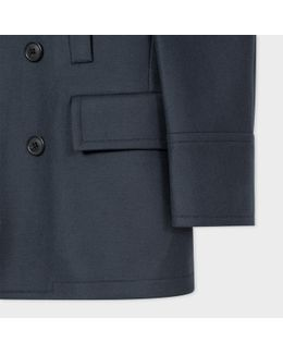 Men's Dark Grey Wool And Cashmere-blend Peacoat