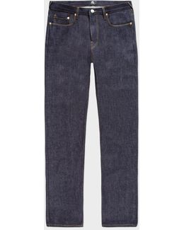 Men's Tapered-fit Indigo Italian-selvedge Raw Denim Jeans