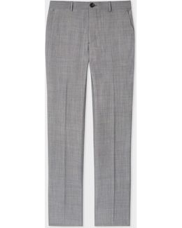Men's Slim-fit Grey Gingham Wool And Cotton-blend Trousers