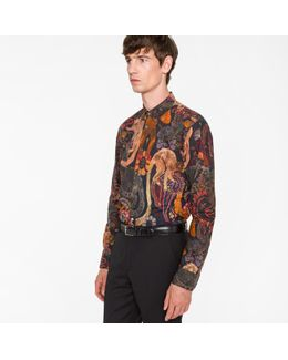 Men's Slim-fit 'monkey' Print Cotton Shirt With 'artist Stripe' Cuff Lining