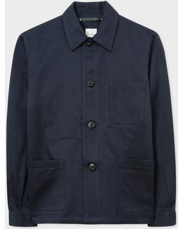 Men's Navy Linen-blend Chore Jacket
