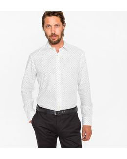 Men's Classic-fit White 'aeroplanes' Print Shirt With 'artist Stripe' Cuff Lining