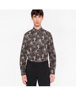 Men's Slim-fit Black 'monkey' Print Cotton Shirt With 'artist Stripe' Cuff Lining