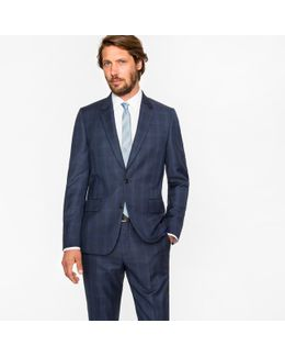 The Soho - Men's Tailored-fit Navy Check Wool Suit
