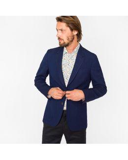 Men's Tailored-fit Navy Textured Diamond-pattern Merino Wool Blazer