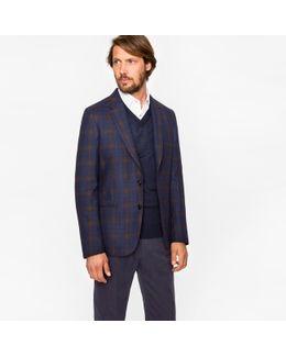 Men's Navy Bouclé Check Unlined Wool-blend Blazer