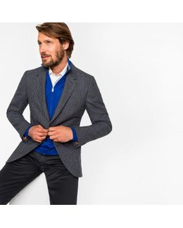 Men's Tailored-fit Grey And Blue Mini-check Unlined Wool-blend Blazer