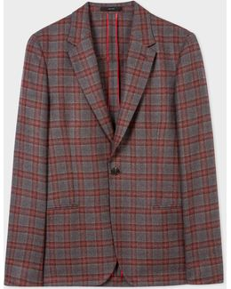Men's Burgundy And Grey Check Unlined Wool Blazer
