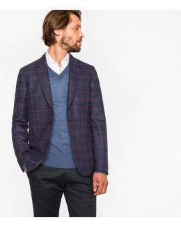 Men's Tailored-fit Navy And Damson Check Unlined Wool Blazer