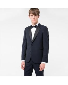 The Soho - Men's Navy Tailored-fit Wool And Mohair-blend Evening Suit