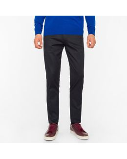 Men's Slim-fit Dark Navy Stretch-cotton Twill Trousers