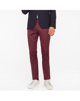 Men's Slim-fit Burgundy Stretch-cotton Twill Trousers