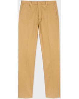 Men's Slim-fit Tan Stretch-cotton Twill Trousers