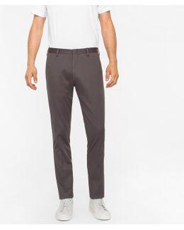 Men's Slim-fit Dark Grey Stretch-cotton Twill Trousers