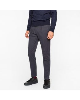 Men's Navy Wool Tapered Trousers