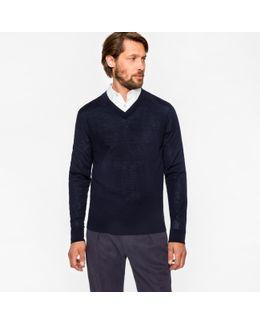 Men's Navy Merino Wool V-neck Sweater