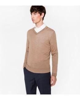 Men's Taupe Merino Wool V-neck Sweater