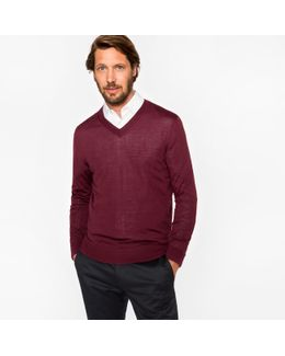 Men's Damson Merino Wool V-neck Sweater