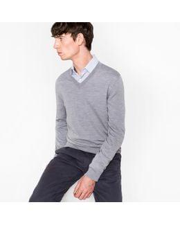 Men's Grey Merino Wool V-neck Sweater