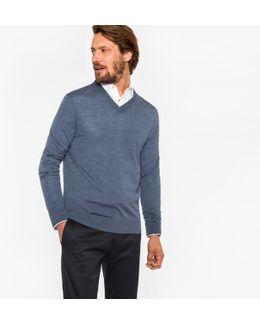 Men's Blue Marl Merino Wool V-neck Sweater