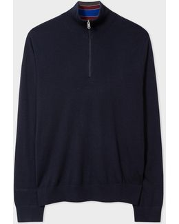 Men's Navy Merino Wool Funnel Neck Sweater