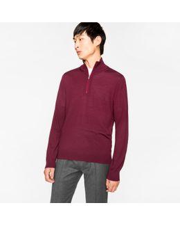 Men's Burgundy Merino Wool Funnel Neck Sweater