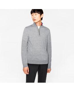Men's Light Grey-marl Merino Wool Funnel Neck Sweater