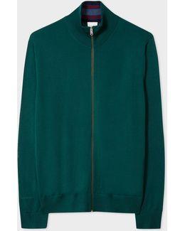 Men's Green Merino Wool Funnel Neck Cardigan