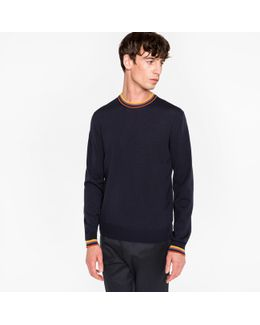 Men's Navy Merino-wool Sweater With 'artist Stripe' Collar And Cuffs