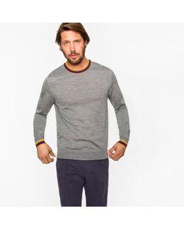 Men's Grey Marl Merino-wool Sweater With 'artist Stripe' Collar And Cuffs