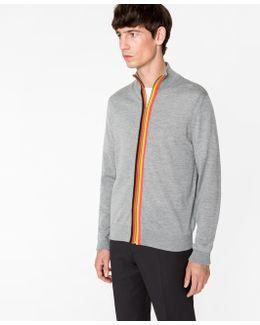 Men's Grey Marl Merino-wool 'artist Stripe' Zip-through Top