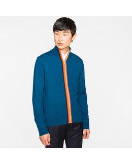 Men's Petrol Merino-wool 'artist Stripe' Zip-through Top