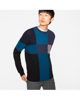 Men's Colour-block Merino-wool Cable-knit Sweater