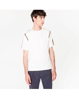 Men's Slim-fit White 'artist Stripe' Webbing T-shirt