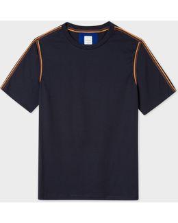 Men's Slim-fit Dark Navy 'artist Stripe' Webbing T-shirt