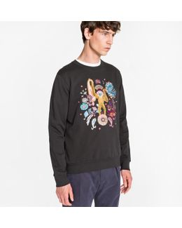 Men's Black Loopback-cotton 'monkey' Embroidered Sweatshirt