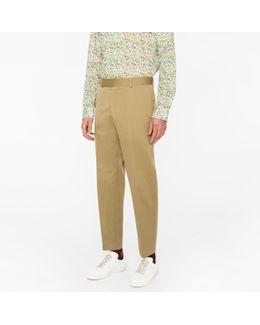 Men's Standard-fit Light Khaki Cotton-linen Chinos