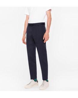 Men's Standard-fit Navy Cotton-linen Chinos